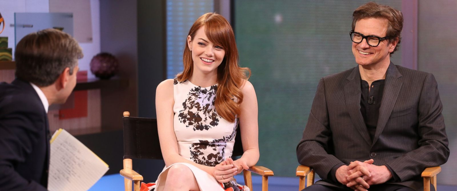 "PHOTO: Colin Firth and Emma Stone on ""Good Morning America,"" on July 16, 2014."