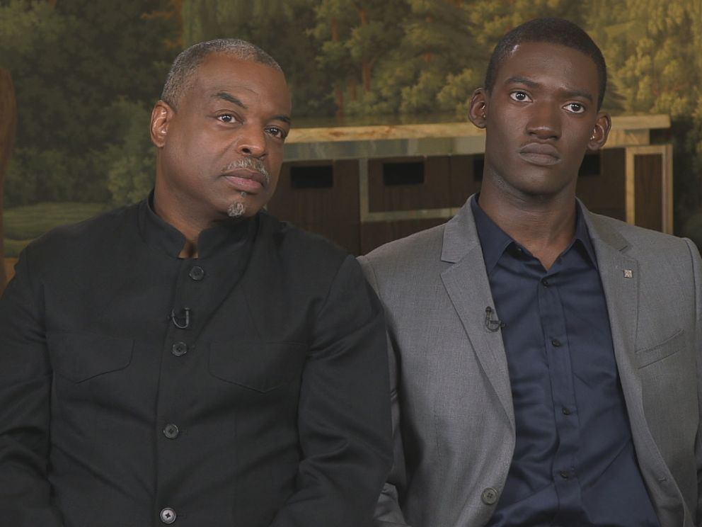 PHOTO: LeVar Burton (left) and Malachi Kirby (right) talk about their experiences portraying the Roots miniseries character Kunta Kinte.