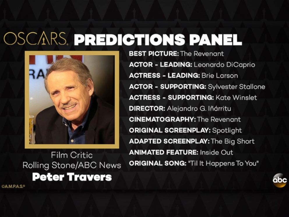 PHOTO: Peter Travers and his Oscar Predictions for 2016.