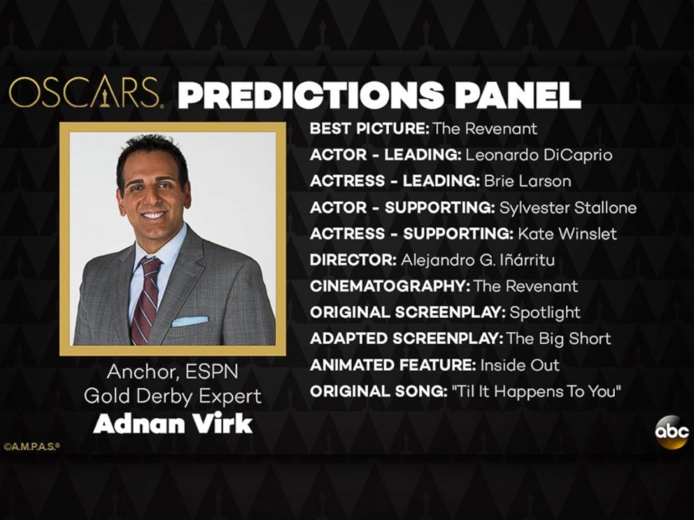 PHOTO: Adnan Virk and his Oscar Predictions for 2016.