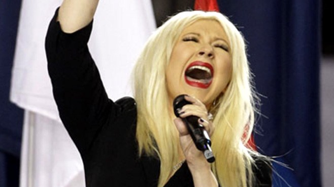 VIDEO: Christina Aguilera takes to Twitter to discuss her lyrical mistake during the game.
