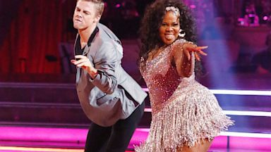 "PHOTO: Derek Hough and Amber Riley, an actress from ""Glee"", are seen doing the Cha Cha on the premiere of ""Dancing with the Stars"", which aired on Sept. 17, 2013."