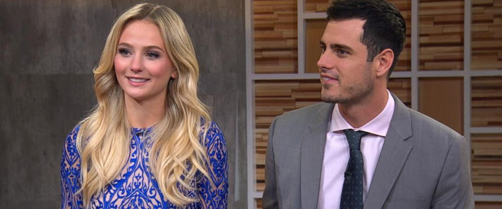 """PHOTO:The Bachelor couple Ben Higgins and Lauren Bushnell answer fans questions about their love, their time on the show, and their epic proposal on """"Good Morning America,"""" March 15, 2016."""