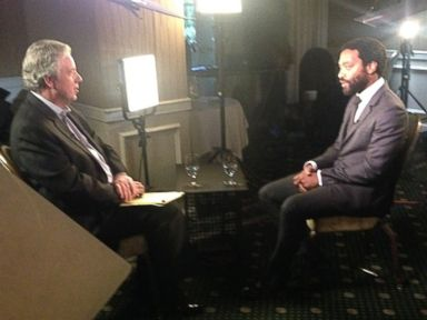 PHOTO: Chiwetel Ejiofor, who has just been Oscar nominated for his starring role in 12 Years a Slave, talks with Chris Connelly for Nightline.