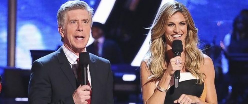 "PHOTO:Erin Andrews, right, joins ""Dancing with the Stars"" as host alongside Emmy-Award Winner, left, Tom Bergeron for its 18th season premiering March 17, 2014."