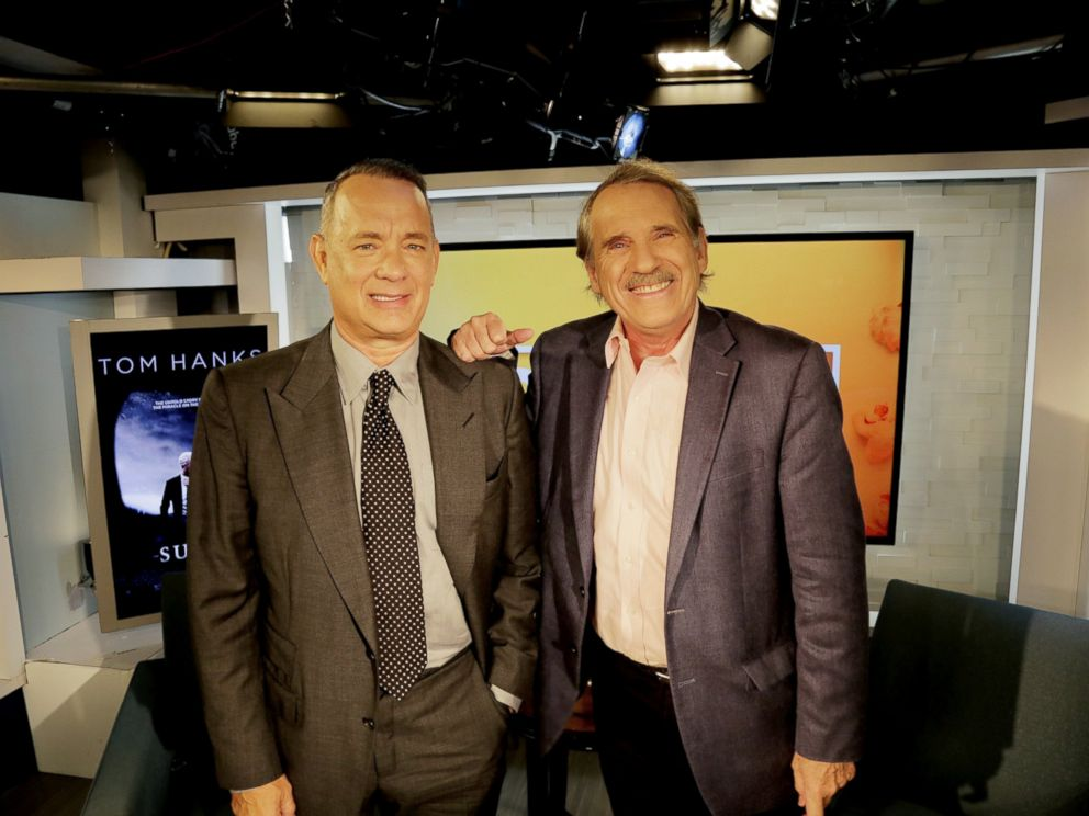PHOTO: Tom Hanks and Peter Travers at the ABC Headquarters in New York, Sept. 6, 2016.