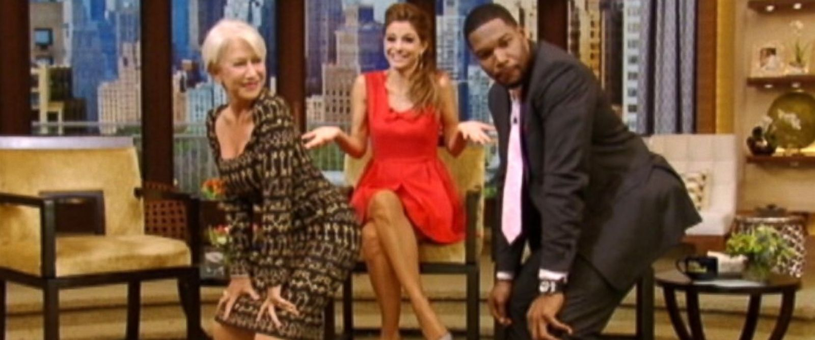 "PHOTO: Helen Mirren and Michael Strahan had a twerking contest on ""Live! with Kelly and Michael."""