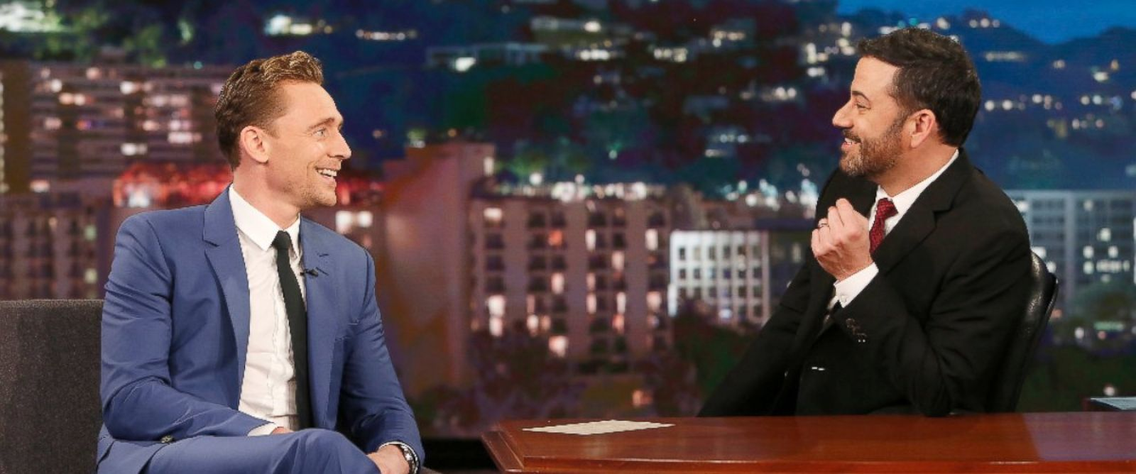 "PHOTO: Tom Hiddleston talks with Jimmy Kimmel on ""Jimmy Kimmel Live."""