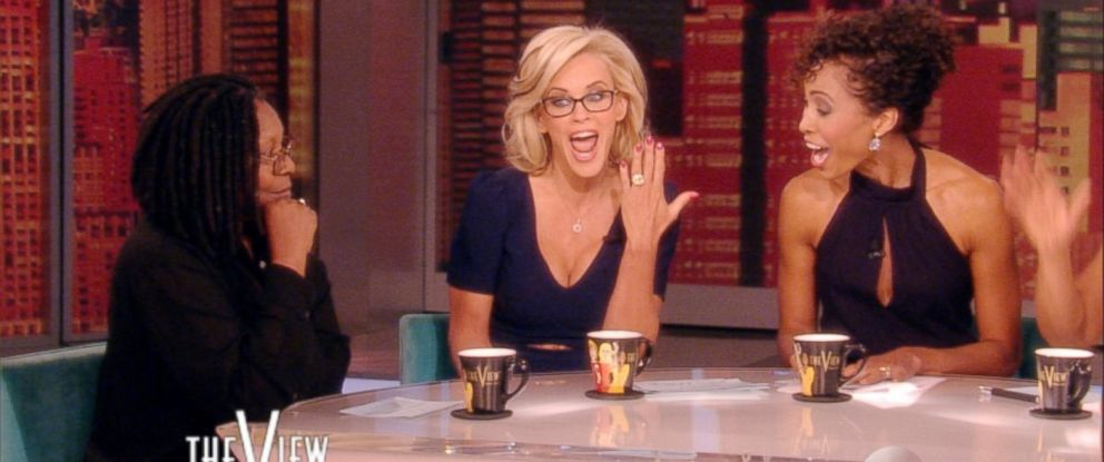 """PHOTO: While hosting """"The View"""" on April 16, 2014, Jenny McCarthy announced that she is engaged to Donnie Wahlberg and showed off her engagement ring."""