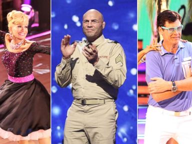 PHOTO: Betsey Johnson, Randy Couture and Michael Waltrip perform on season 19 of ABCs Dancing With the Stars.
