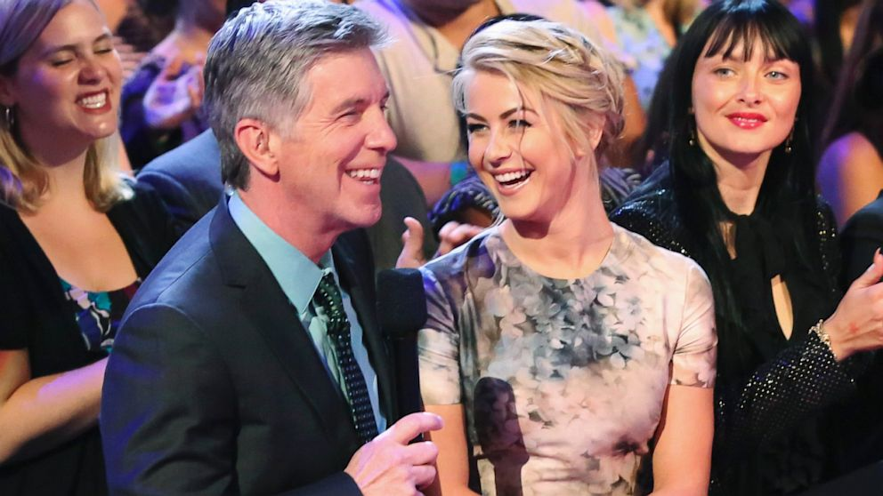"PHOTO: Tom Bergeron talks to Julianne Hough on ""Dancing With The Stars,"" Sept. 23, 2013."