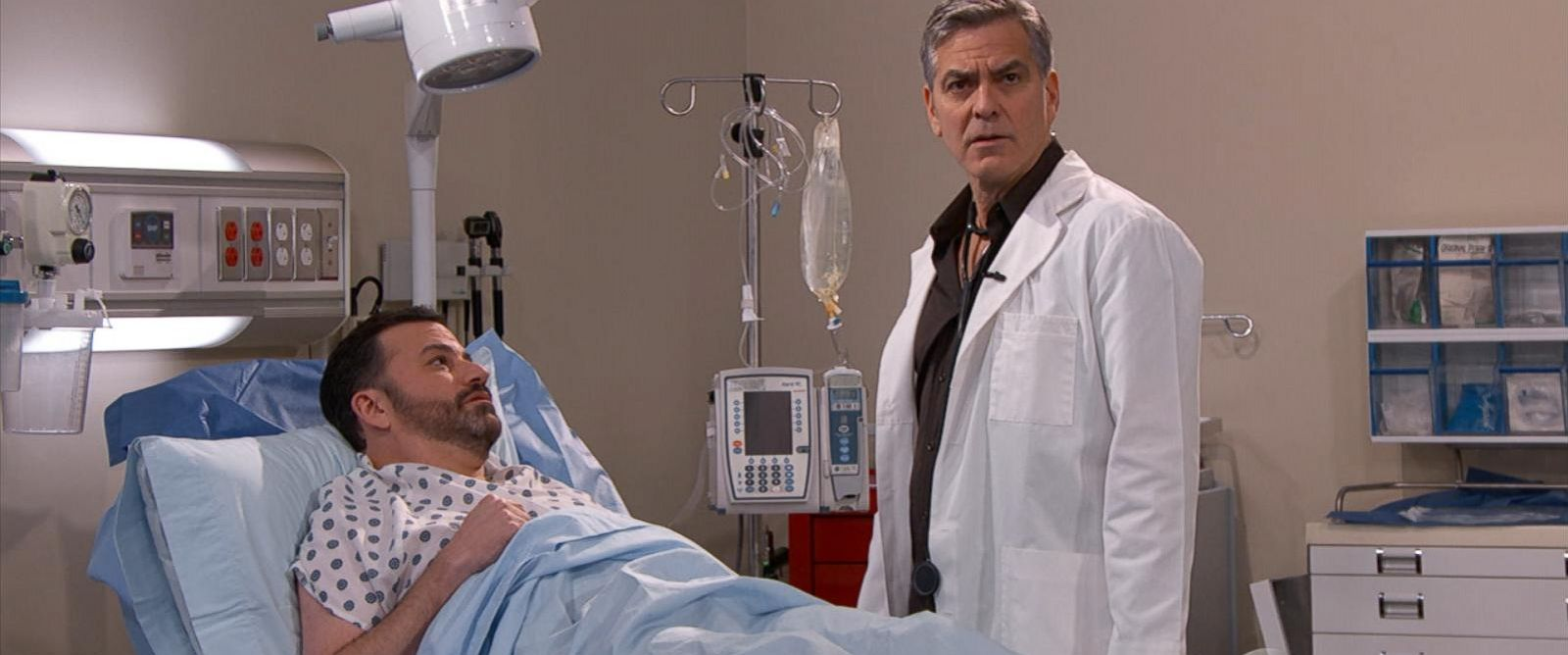"PHOTO:George Clooney appears in a skit on ""Jimmy Kimmel Live"" wearing his scrubs from his former TV series, ""ER."""