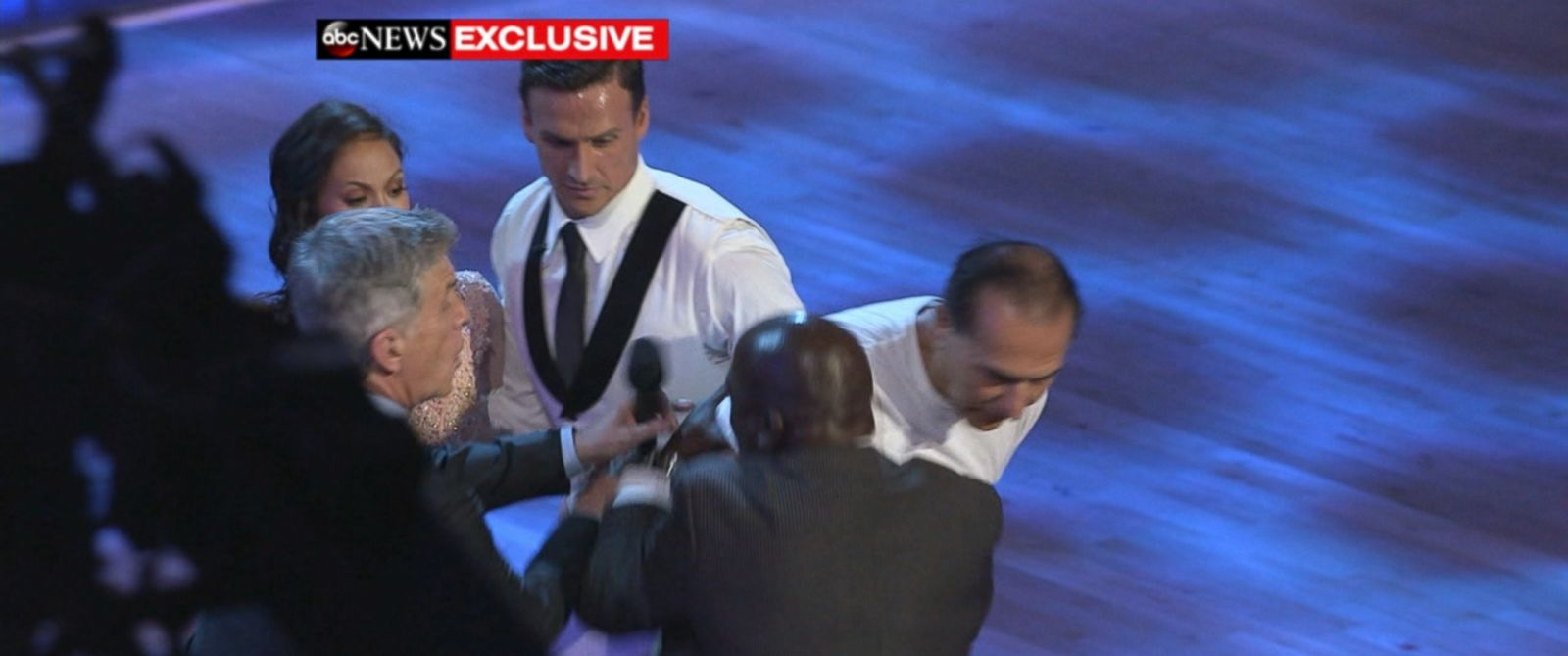 """PHOTO: Ryan Lochte protestors ran on the set of """"Dancing With The Stars,"""" Sept. 12, 2016."""