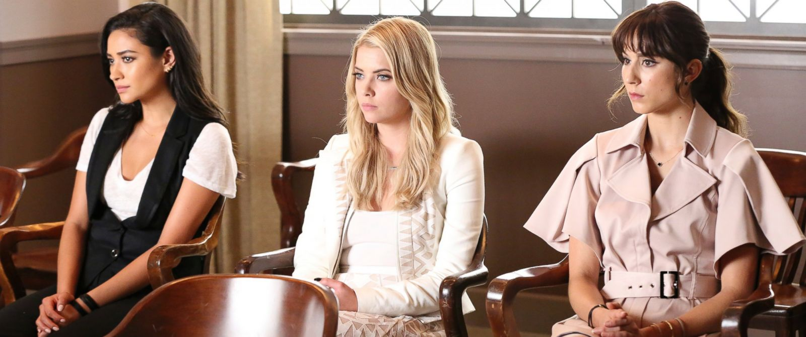 "PHOTO: Shay Mitchell, Ashley Benson and Troian Bellisario in season six of ""Pretty Little Liars."""