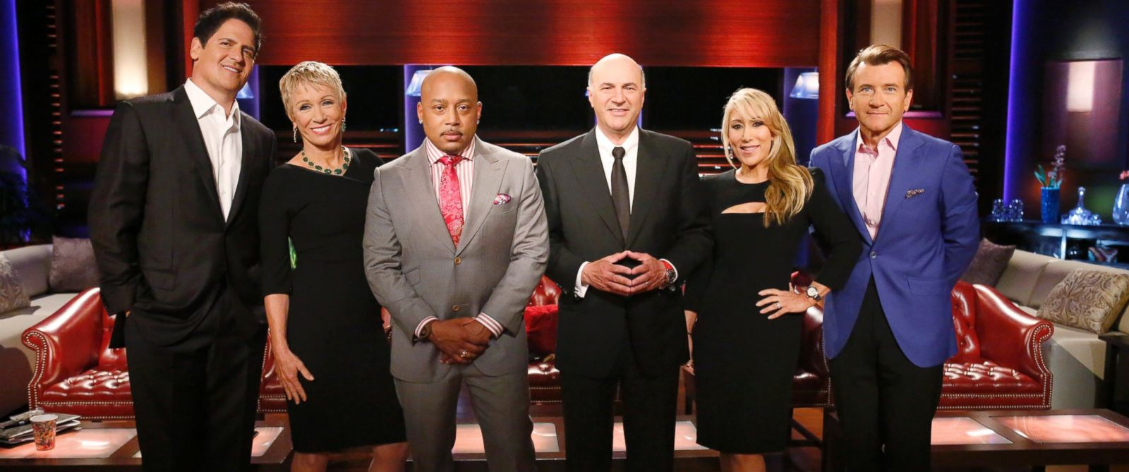 """ABCs """"Shark Tank"""" stars, from left, billionaire Mark Cuban, owner of the Dallas Mavericks; real estate mogul Barbara Corcoran; fashion and branding expert Daymond John; venture capitalist Kevin OLeary, """"Queen of QVC"""" Lori Greiner and technology innovato"""