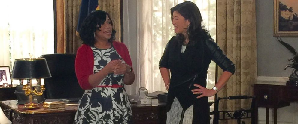 """PHOTO:Shonda Rhimes is seen here during an interview with """"Nightlines"""" Juju Chang."""