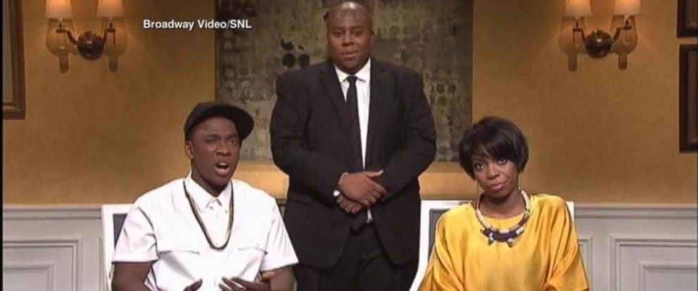 PHOTO: Jay Pharoah as Jay Z and Sasheer Zamata as Solange appear on SNL, May 17, 2014.