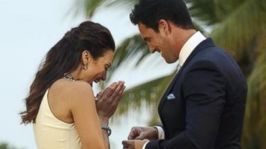 "PHOTO: Andi Dorfman, left, and Josh Murray, right, are pictured in a still from ""The Bachelorette."""