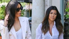 Kim and Kourtney Kardashian Show Off Their Legs