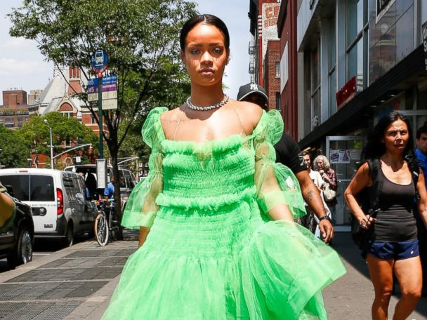 Photos:  Rihanna Makes a Coffee Run in Green Tulle
