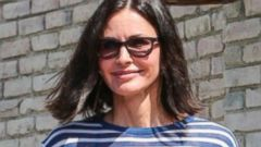 Courteney Cox Steps Out In Stripes