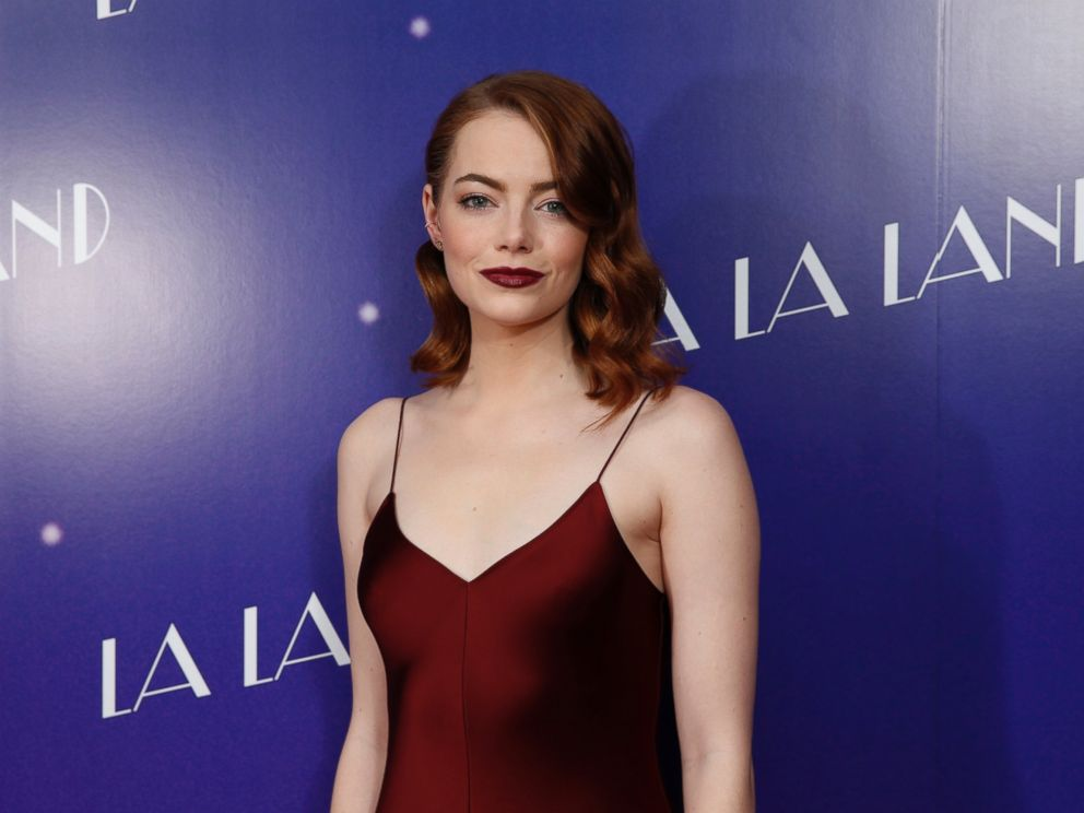 PHOTO: Actress Emma Stone poses for photographers upon arrival at the screening of the film La La Land in London, Jan. 12, 2017.