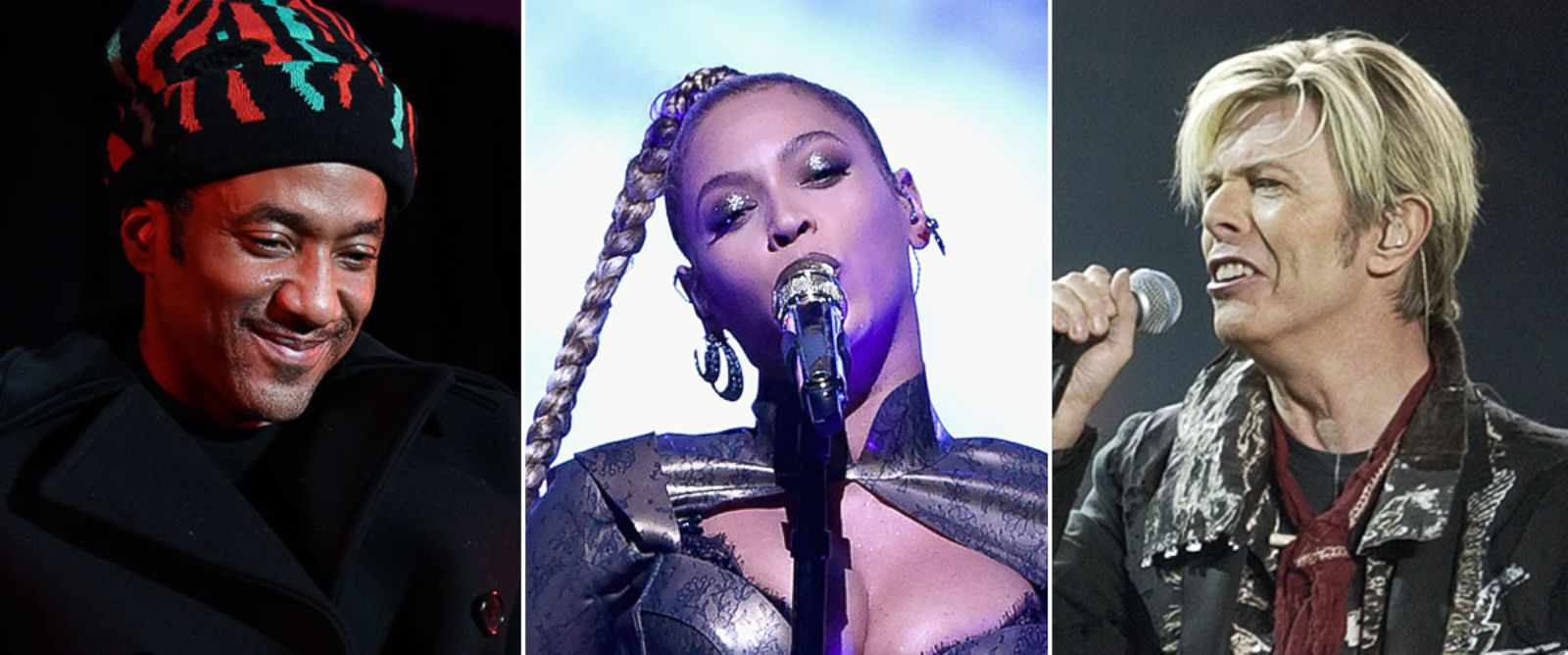 PHOTO: Q-Tip of a Tribe Called Quest, Beyonce, and David Bowie.