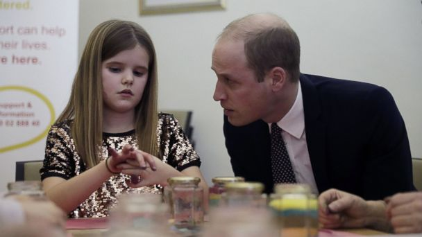 PHOTO: The Duke of Cambridge speaks with Aoife, 9, during a visit to Child Bereavement UK's center in Stratford, east London on Jan. 11, 2017.