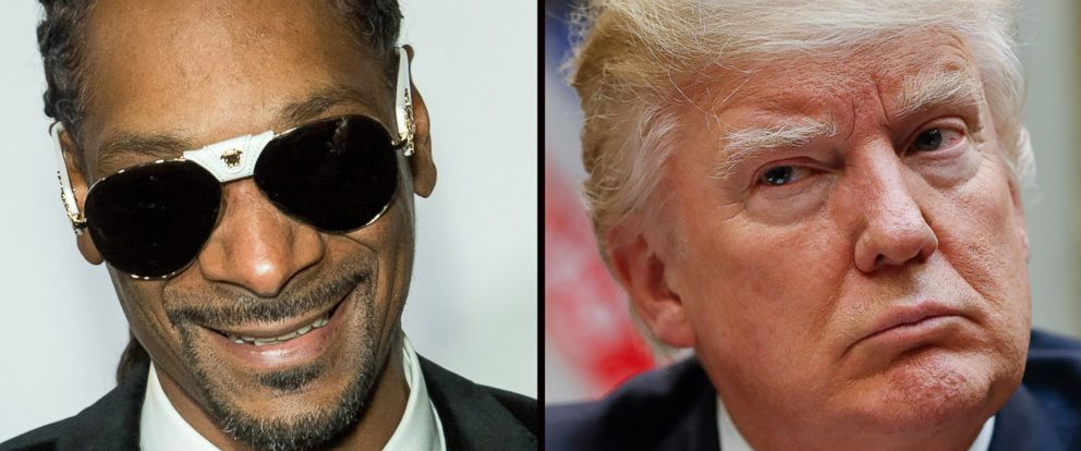 PHOTO: Rapper Snoop Dogg, left and President Donald Trump, right.