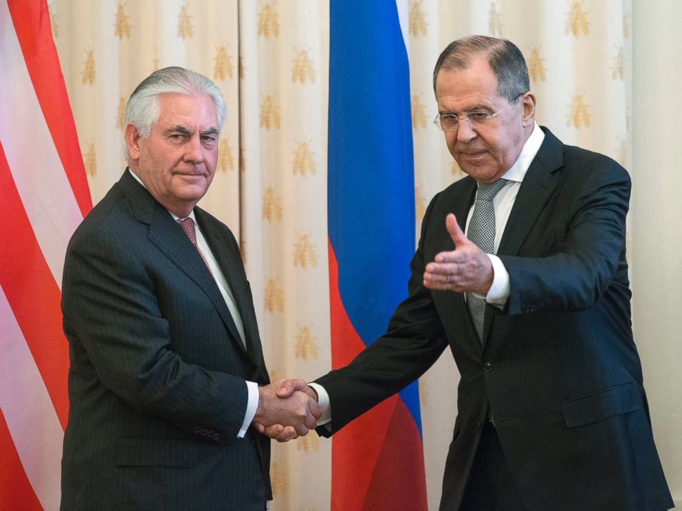 PHOTO: US Secretary of State Rex Tillerson and Russian Foreign Minister Sergey Lavrov, shakes hands prior to their talks in Moscow, April 12, 2017.