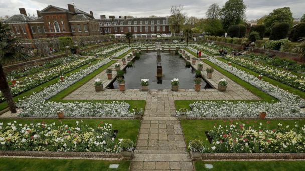 PHOTO: An overview shows The White Garden, a new memorial garden which marks 20 years since the death of Britain's Princess Diana, at Kensington Palace in London, April 13, 2017.