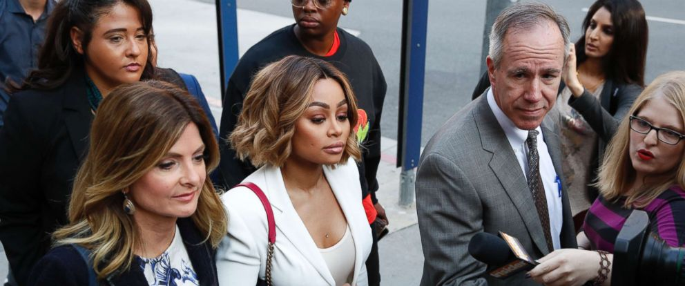 PHOTO: Blac Chyna and her attorney Lisa Bloom,left, arrives for her court hearing, Los Angeles, July 10, 2017.