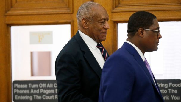 PHOTO: Andrew Wyatt, right, leads Bill Cosby, left, out of the courtroom during a lunch break in Cosby's sexual assault trial at the Montgomery County Courthouse in Norristown, Pa., June 12, 2017.