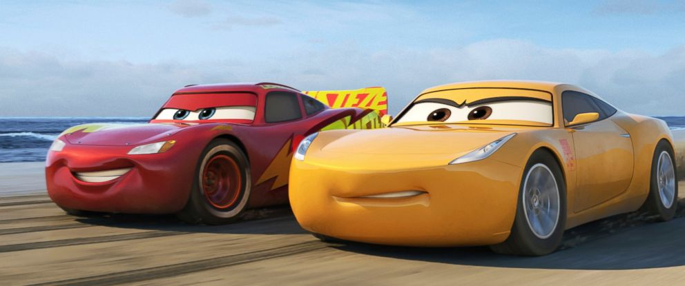 "PHOTO: Lightning McQueen, voiced by Owen Wilson, left, and Cruz Ramirez, voiced by Cristela Alonzo in a scene from Disneys ""Cars 3."""
