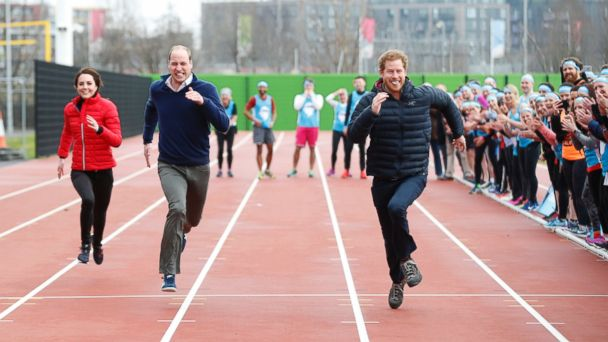 PHOTO: (L-R) Kate, the Duchess of Cambridge, Britain's Prince William and Prince Harry take part in a relay race, during a training event to promote the charity Heads Together, at the Queen Elizabeth II Park in London, Feb. 5, 2017.