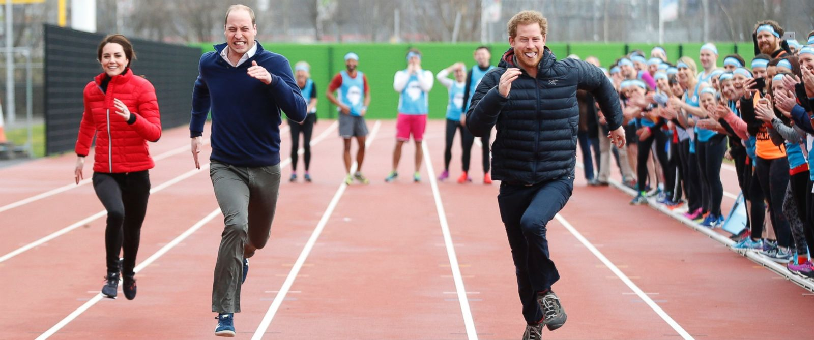 PHOTO: (L-R) Kate, the Duchess of Cambridge, Britains Prince William and Prince Harry take part in a relay race, during a training event to promote the charity Heads Together, at the Queen Elizabeth II Park in London, Feb. 5, 2017.