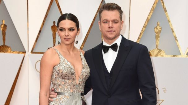 PHOTO: Luciana Barroso, left, and Matt Damon arrive at the Oscars, Feb. 26, 2017, at the Dolby Theatre in Hollywood, Calif.