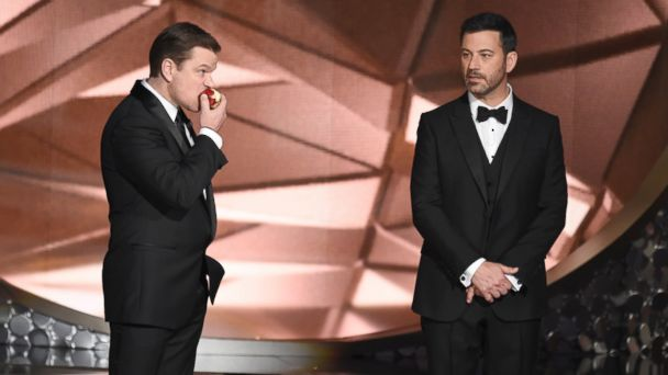 PHOTO: Matt Damon, left, and host Jimmy Kimmel appear on stage at the 68th Primetime Emmy Awards, Sept. 18, 2016, at the Microsoft Theater in Los Angeles.