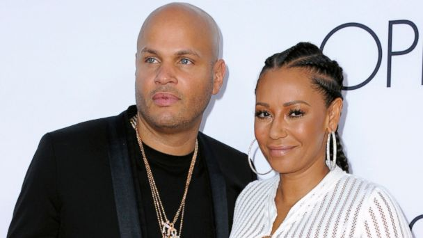 PHOTO: Stephen Belafonte, left, and Melanie Brown arrive at the premiere of