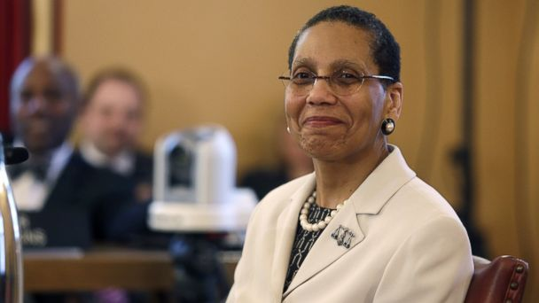 PHOTO: Justice Sheila Abdus-Salaam looks on as members of the state Senate Judiciary Committee vote unanimously to advance her nomination to fill a vacancy on the Court of Appeals at the Capitol in Albany, N.Y., April 30, 2013.