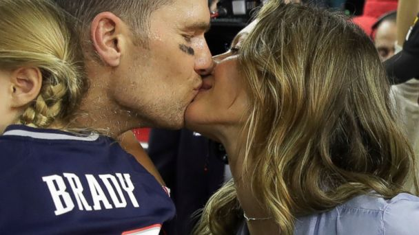 PHOTO: New England Patriots' Tom Brady kisses his wife Gisele Bundchen after his team defeated the Atlanta Falcons in overtime at the NFL Super Bowl 51 football game, Feb. 5, 2017, in Houston.