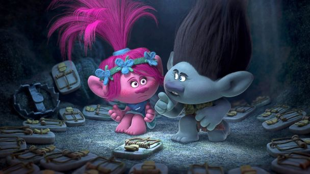 PHOTO: Poppy, left, voiced by Anna Kendrick, and Branch, voiced by Justin Timberlake in a scene from