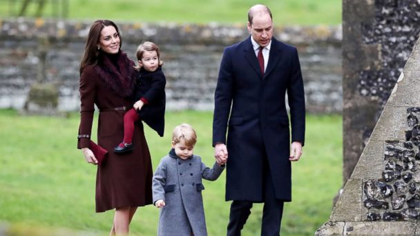 PHOTO: Britain's Prince William and Kate, the Duchess of Cambridge with their children Prince George and Princess Charlotte arrive to attend the morning Christmas Day service at St Mark's Church in Englefield, England, Dec. 25, 2016.
