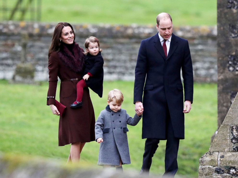 PHOTO: Britains Prince William and Kate, the Duchess of Cambridge with their children Prince George and Princess Charlotte arrive to attend the morning Christmas Day service at St Marks Church in Englefield, England, Dec. 25, 2016.