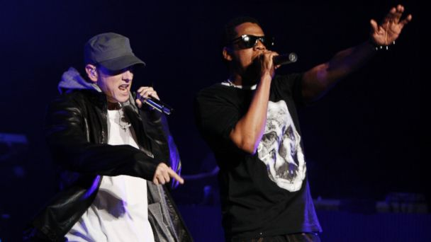 "PHOTO: Eminem, left, and Jay-Z perform together at a concert celebrating the launch of the video game ""DJ Hero"" in Los Angeles, June 1, 2009."