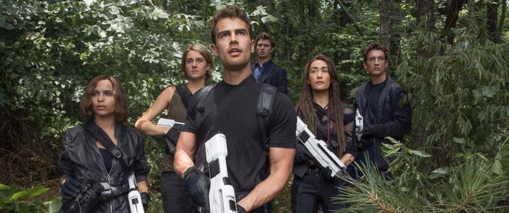 "PHOTO: From left, Zoe Kravitz, Shailene Woodley, Theo James, Ansel Elgort, Maggie Q and Miles Teller in a scene from ""The Divergent Series: Allegiant."""