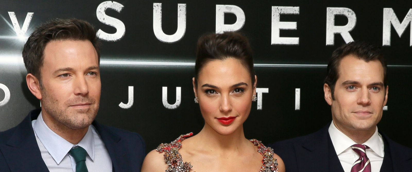 PHOTO: Ben Affleck, Gal Gadot and Henry Cavill pose for photographers upon arrival at the premiere of the film Batman V Superman in London, March 22, 2016.