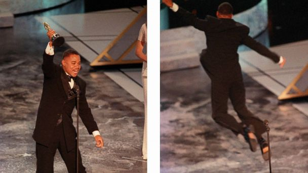 PHOTO: Cuba Gooding Jr. reacts and jumps on the stage at the Oscars on March 24, 1997 in Los Angeles.