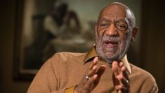PHOTO: Bill Cosby gestures during a Nov. 6, 2014 interview about the upcoming exhibit, Conversations: African and African-American Artworks in Dialogue, at the Smithsonians National Museum of African Art in Washington.