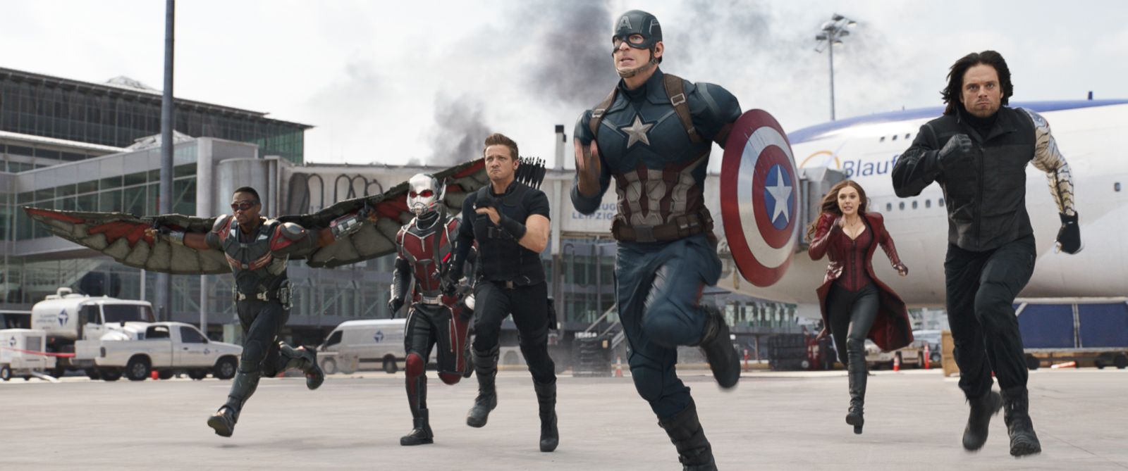 "PHOTO: Anthony Mackie, from left, Paul Rudd, Jeremy Renner, Chris Evans, Elizabeth Olsen and Sebastian Stan appear in a scene from ""Captain America: Civil War."""